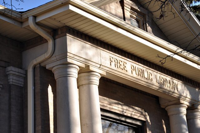 Exterior of Free Public Library by Carnegie